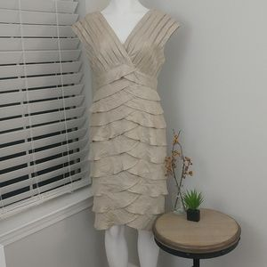 Cache Shimmer beige Ruffle Dress. B58